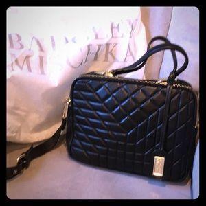 Badgley Mischka quilted black leather shoulder bag